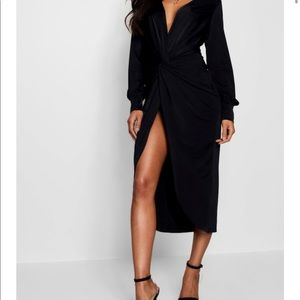 Boohoo Twist Front Plunge Slinky Midi Dress